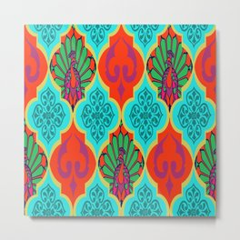 Moroccan Decorations and Peacocks Red,Blue by Lorloves Design Metal Print