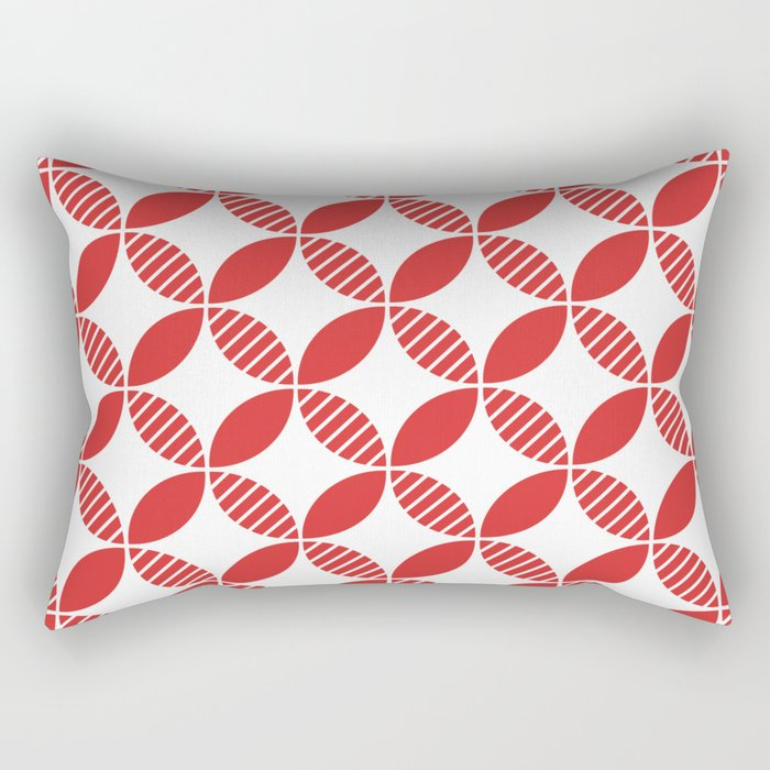 Mid Century Modern Geometric Flower Pattern Red Rectangular Pillow