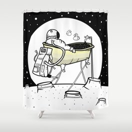 Astronaut in a bathtub Shower Curtain