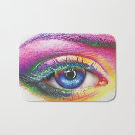 modern art iphone ipad imac wall tapestry shirt rug eye eyeball lashes drag queen rupaul race Bath Mat