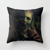 zombie Throw Pillows featuring Zombie by Sirenphotos