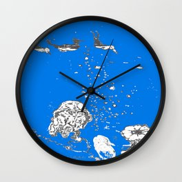 Two Tailed Duck and Jellyfish Royal Brilliant Blue Wall Clock