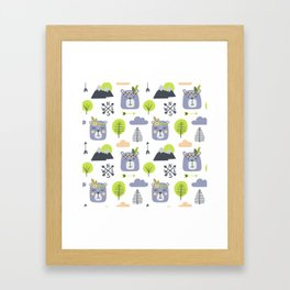 Cute Mountains Bears and Trees Happy Campers Children Pattern Framed Art Print