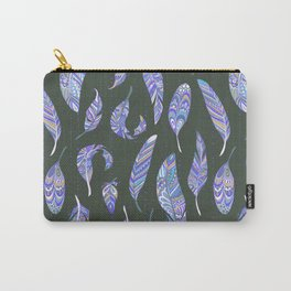 Hand painted modern purple violet bohemian feathers pattern Carry-All Pouch
