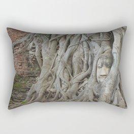 Wat Mahathat's Buddha Head in Tree Roots Rectangular Pillow
