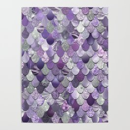 Mermaid Purple and Silver Poster