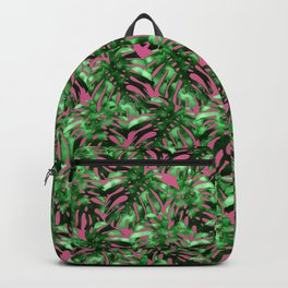 Monstera on pink Backpack