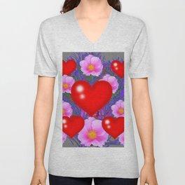 Red Hearts & Pink Wild Rose Valentine Purple Art Unisex V-Neck