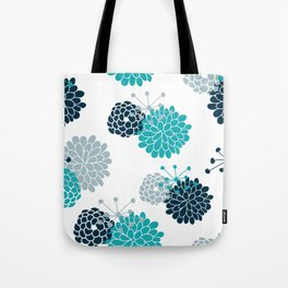 Turquoise Floral Tote Bag