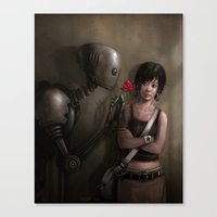 Robot In Love Canvas Print