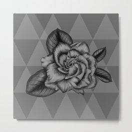 Grey Gardenia Flower on Triangles Pattern Metal Print