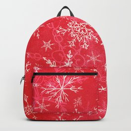 Snowflakes Christmas Red Backpack