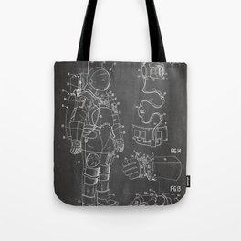 Nasa Apollo Spacesuite Patent - Nasa Astronaut Art - Black Chalkboard Tote Bag
