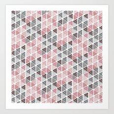 Diamond Floral Pattern Art Print
