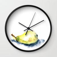 pear Wall Clocks featuring pear by Katja Main