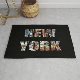 New York (photo type on black) Rug