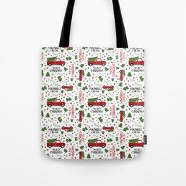 Merry Christmas Red Vintage Truck with Tree Tote Bag