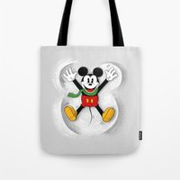 mickey Tote Bags featuring Snow Mickey by Florent Bodart / Speakerine