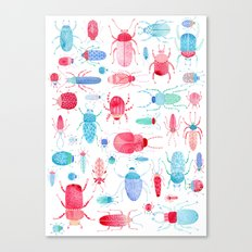 Watercolor Beetles Canvas Print