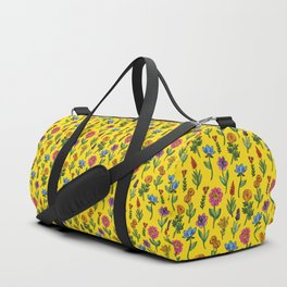 Vibrant Yellow, Pink, Red & Blue Watercolor & Ink Floral Pattern Duffle Bag