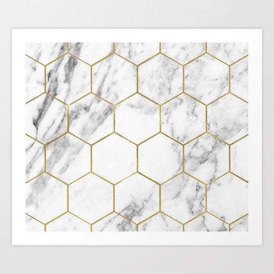 Gold marble hexagon pattern Art Print