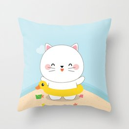 Cat in the  Beach Throw Pillow