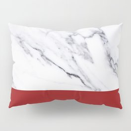 White Marble Red Hot Striped Pillow Sham