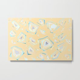 Deformed cosmic objects soft coral, floating in the empty space, geometric shapes, texture, pattern Metal Print