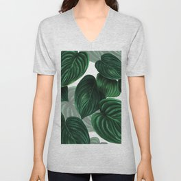 tropical green pattern Unisex V-Neck