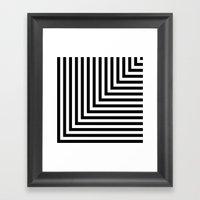 Black and White L Stripes // www.pencilmeinstationery.com Framed Art Print