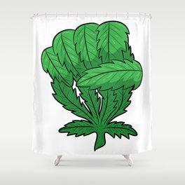 Weed Fist   Cannabis Marijuana THC CBD Shower Curtain