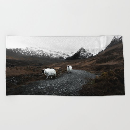 Sheep in the highlands #adventure Beach Towel