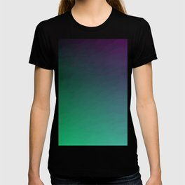 Peacock Green purple blue black ombre waves T-shirt
