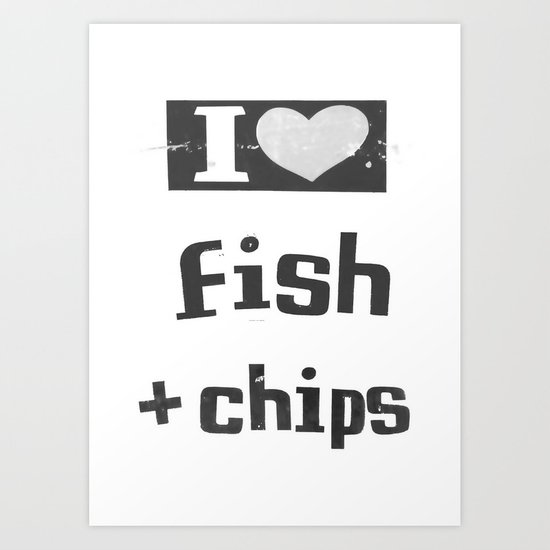 I ♥ Fish And Chips - Dark Gray Art Print