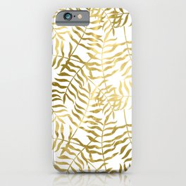 Gold Leaves on White iPhone Case