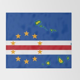 Cape Verde Flag with Map of the Cape Verde Islands Throw Blanket