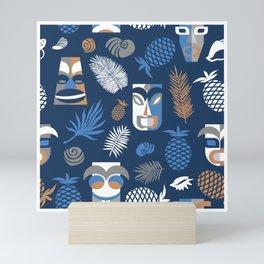 tiki masks blue seamless pattern Mini Art Print