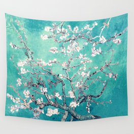 Vincent Van Gogh Almond Blossoms Turquoise Wall Tapestry