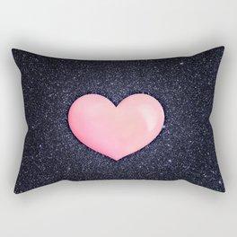 Pink heart on shiny black Rectangular Pillow