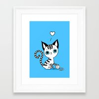 kitten Framed Art Prints featuring Kitten by Freeminds