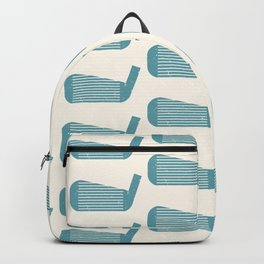 Golf Club Head Vintage Pattern (Beige/Blue) Backpack
