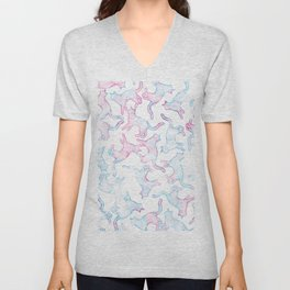 Hand painted teal pink watercolor cats Unisex V-Neck