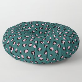 Leopard animal print trend abstract minimal spots panther cat Green Pink Black Floor Pillow