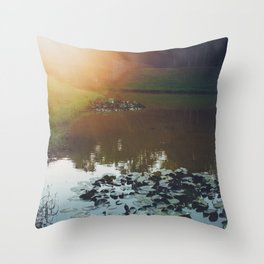 Sunset at Red Bridge Throw Pillow
