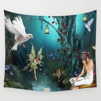 fairy tale Wall Tapestries featuring Fairy-tale stories by Just Kidding