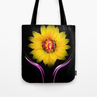 sunflower Tote Bags featuring Sunflower by Walter Zettl