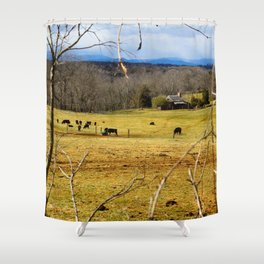 Cattle ranch overlooking the Blue Ridge Mountains Shower Curtain