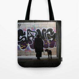 Woman and dog, graffiti Tote Bag