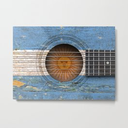 Old Vintage Acoustic Guitar with Argentine Flag Metal Print