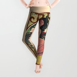 Alphonse Mucha Job Rolling Papers Art Nouveau Woman Leggings